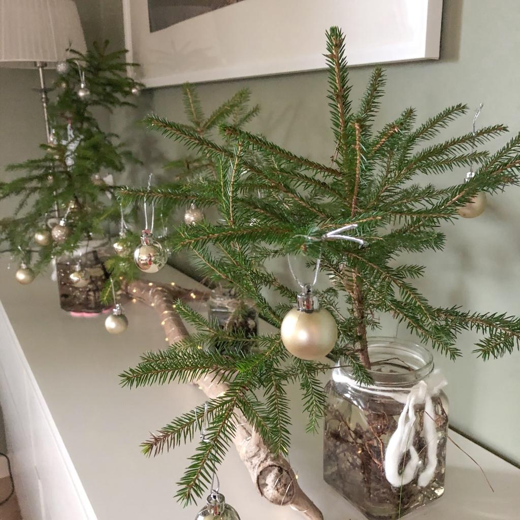 Plukker julepynt juletre ut med barna  vann  røtter syltetøyglass  gjenbruk julepynt interiør dekorasjon